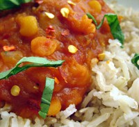 Tomato and Squash Curry with Yellow Split Peas