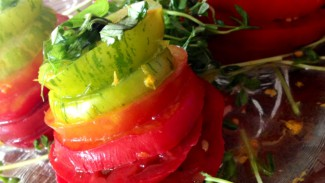 Rainbow Heirloom Tomato Stacks