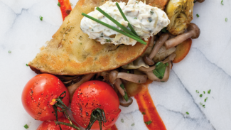 Chickpea Crepe (Farinata) With Artichokes And Mushrooms