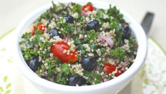 Kale, Blueberry and Quinoa Salad with Fresh Blueberry Vinaigrette