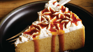 Pumpkin Cheesecake with Apple Cider Reduction