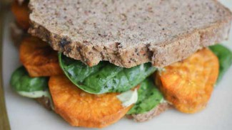 Roasted Sweet Potato and Cilantro Cashew Cream Sandwich