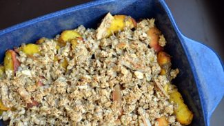 Peach Chia Crumble With Almond-Coconut Topping