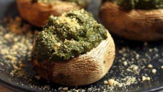 Basil Hummus Stuffed Mushrooms