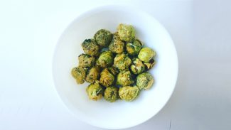 Cheesy Roasted Tahini Brussel Sprouts