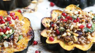 French Lentil & Buckwheat Stuffed Acorn Squash Rings