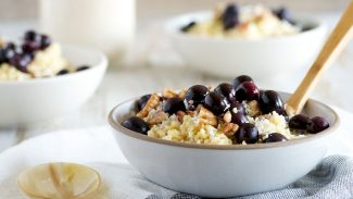 Millet Porridge with Roasted Blueberries and Coconut Horchata