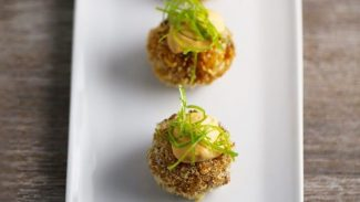 Vegan Kimchi Cream Cheese Stuffed Rice Balls