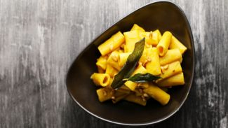 Rigatoni with Vegan Butternut Sage Cream Sauce and Toasted Pine Nuts