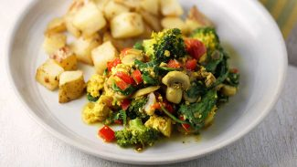 Tofu Scramble with Veggies and Roasted Potatoes