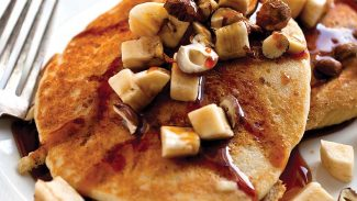 Cornmeal Banana Walnut Pancakes