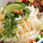 Daikon Noodle Salad with Ginger Lime Dressing & Mulberries
