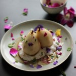 Poached Pears, Coconut Cream & Nature-fetti