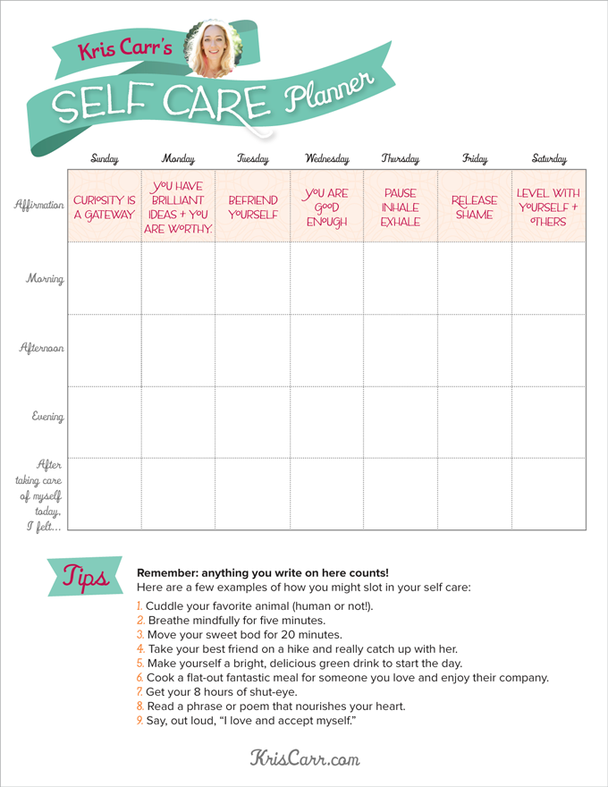 A self care planner to get you through the week for Self care plan template