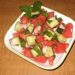 Cucumber and Watermelon Salad with Mint