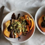 Pistachio & Raw Chocolate Drizzled Peaches