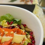 Persimmon Pomegranate Salad with Lemon Tahini Dressing