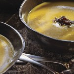 Butternut Squash–Chestnut Soup with Caramelized Pears
